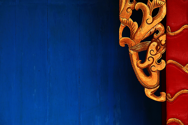 孔廟供桌藍與紅